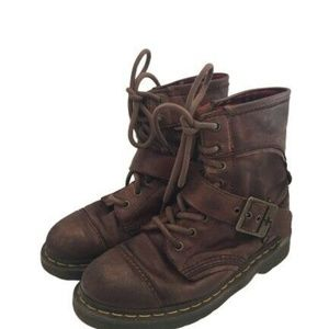 Dr Martens Womens  Buckle Boots Plaid Lining
